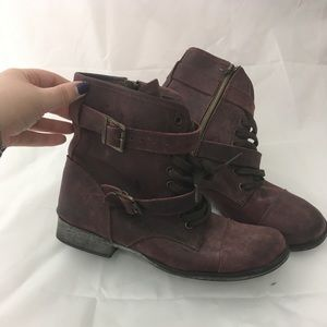 Dolce vita leather combat moto boots plum 9.5